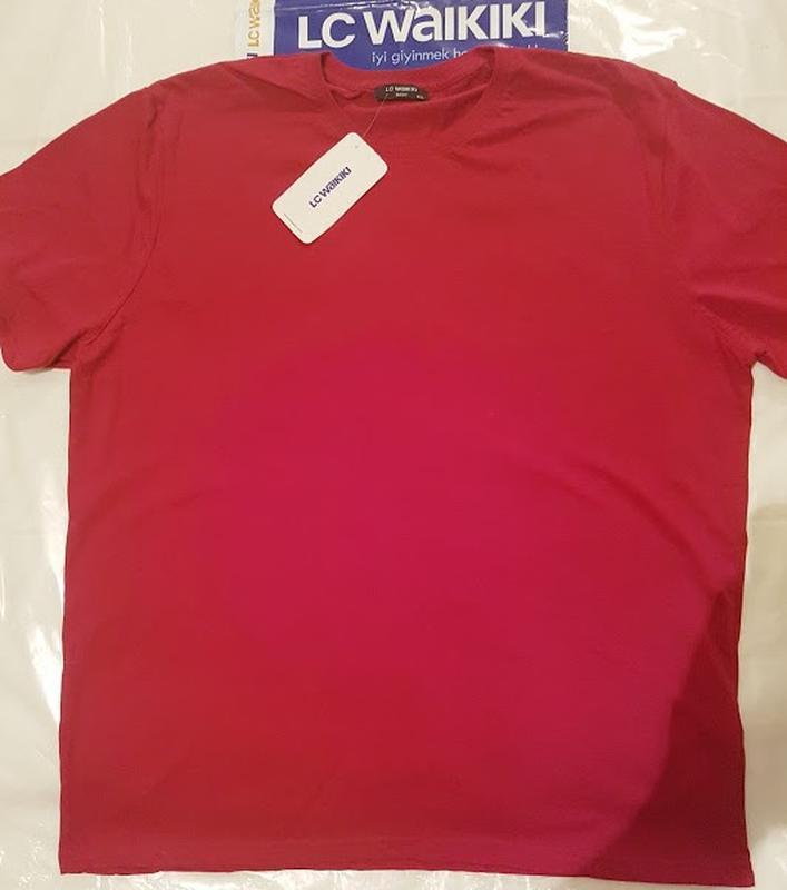 Мужская футболка бордовая lc waikiki / лс вайкики с круглым вы... - Фото 2