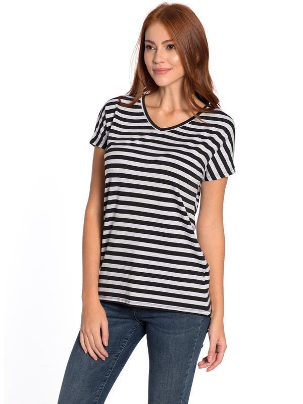 Женская футболка lc waikiki / лс вайкики в серо-черную полоску