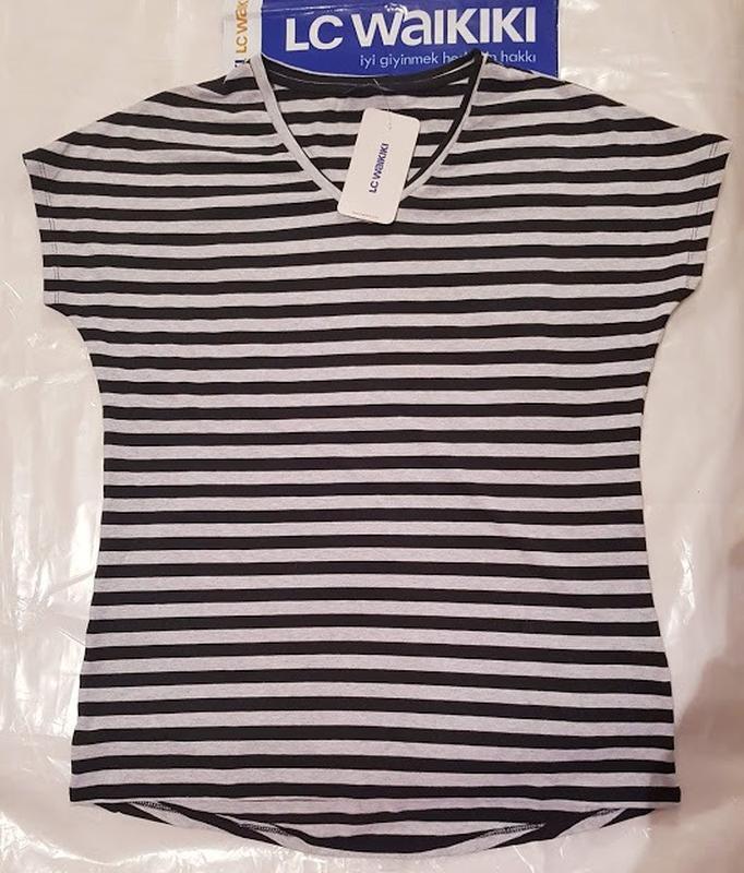 Женская футболка lc waikiki / лс вайкики в серо-черную полоску - Фото 2