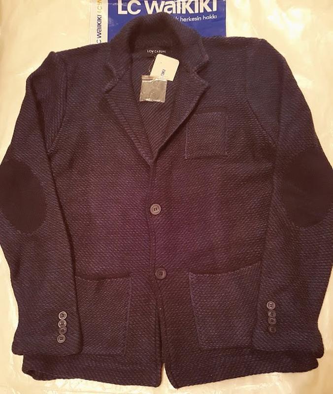 Синий мужской пиджак lc waikiki / лс вайкики с латками и карма... - Фото 2
