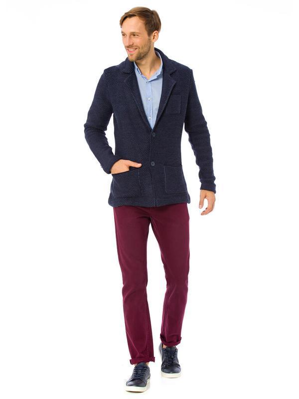 Синий мужской пиджак lc waikiki / лс вайкики с латками и карма... - Фото 3