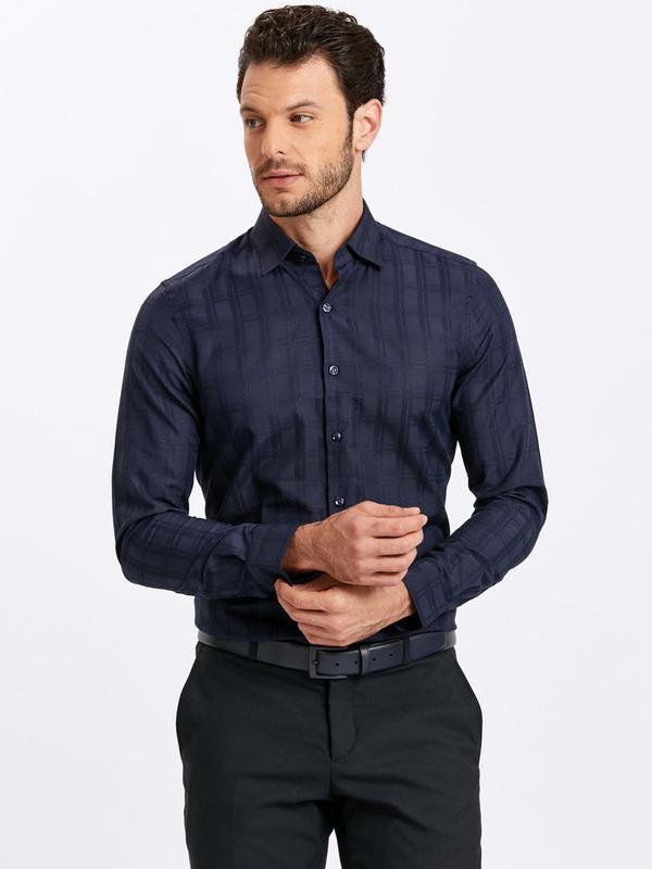 Темно-синяя мужская рубашка lc waikiki / лс вайкики в атласную...