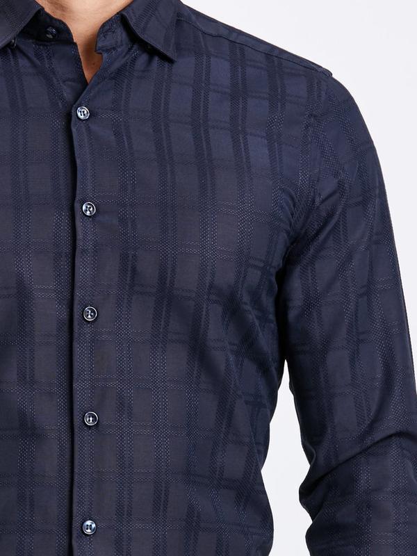 Темно-синяя мужская рубашка lc waikiki / лс вайкики в атласную... - Фото 5