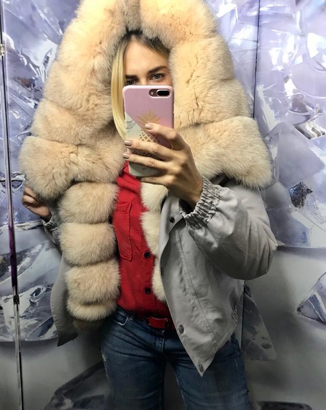 Бомперы,куртки с мехом финского песца пудра