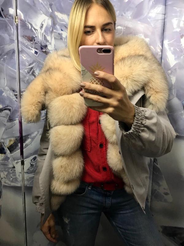 Бомперы,куртки с мехом финского песца пудра - Фото 2