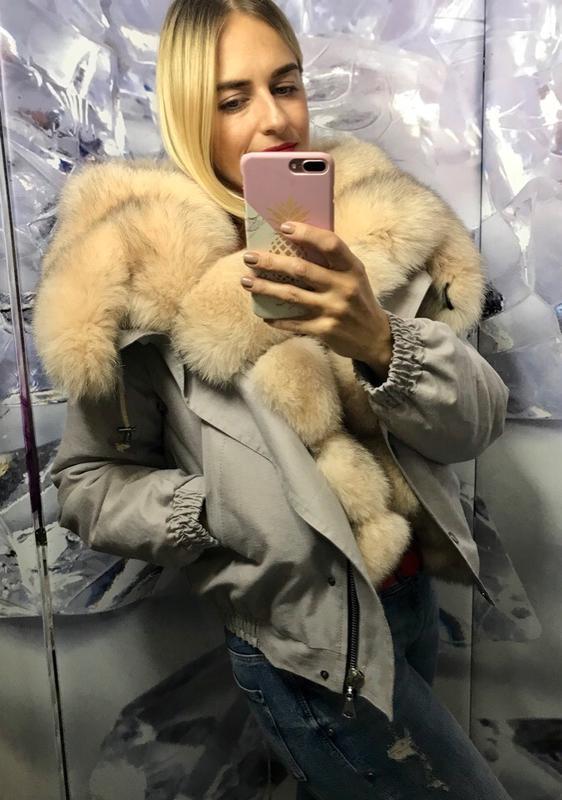 Бомперы,куртки с мехом финского песца пудра - Фото 3