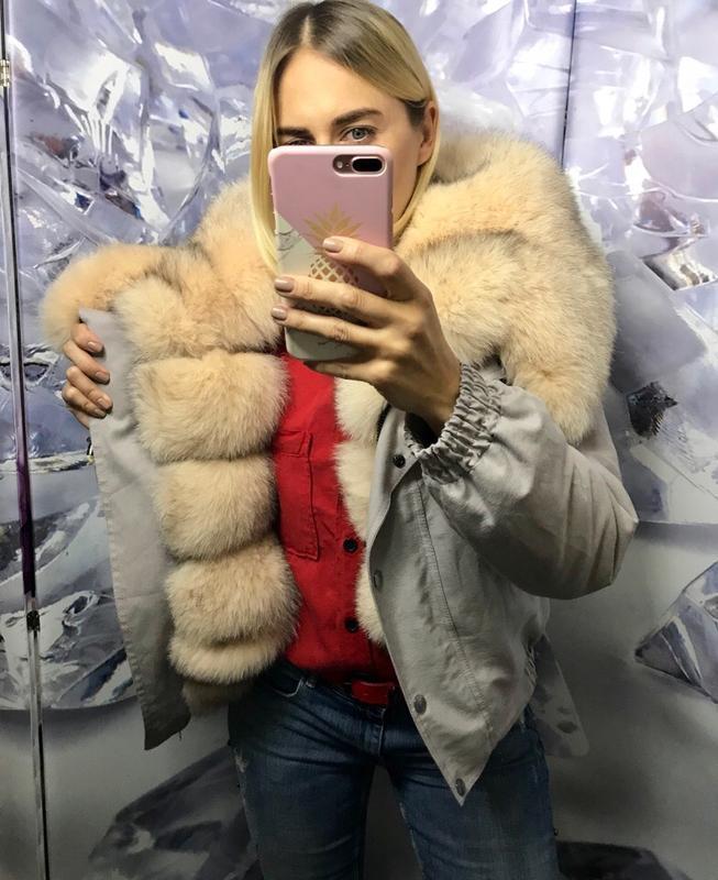 Бомперы,куртки с мехом финского песца пудра - Фото 4
