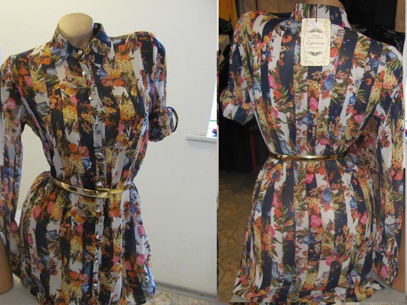 Шифоновая блуза, туника, рубашечного типа удлиненная, р. 42 ко...
