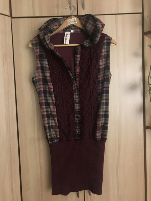 Теплое платье-туника с капюшоном - Фото 2