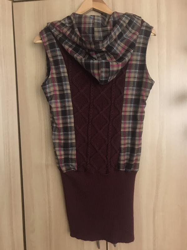 Теплое платье-туника с капюшоном - Фото 3