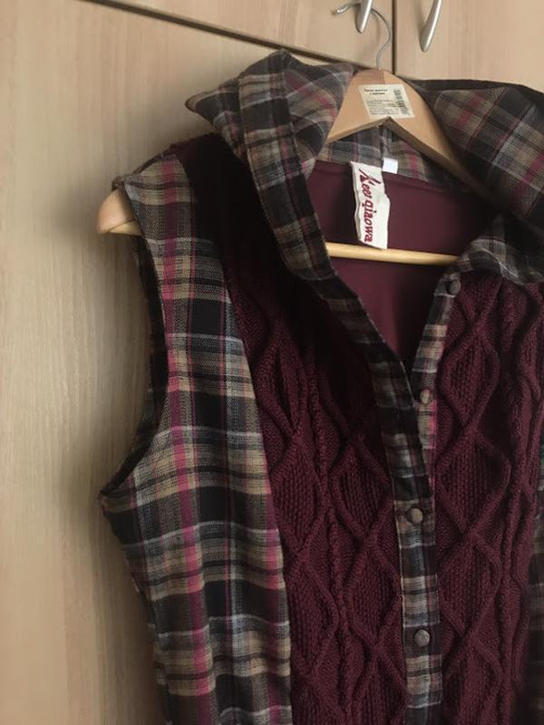 Теплое платье-туника с капюшоном - Фото 4
