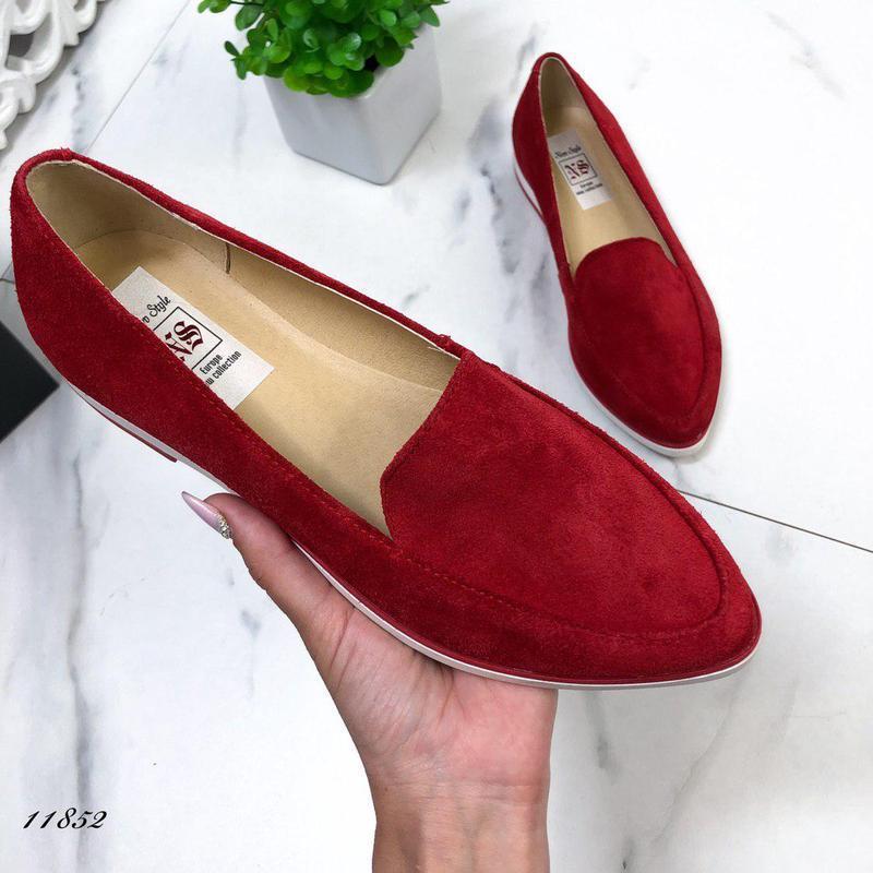 Натуральные замшевые туфельки - Фото 3