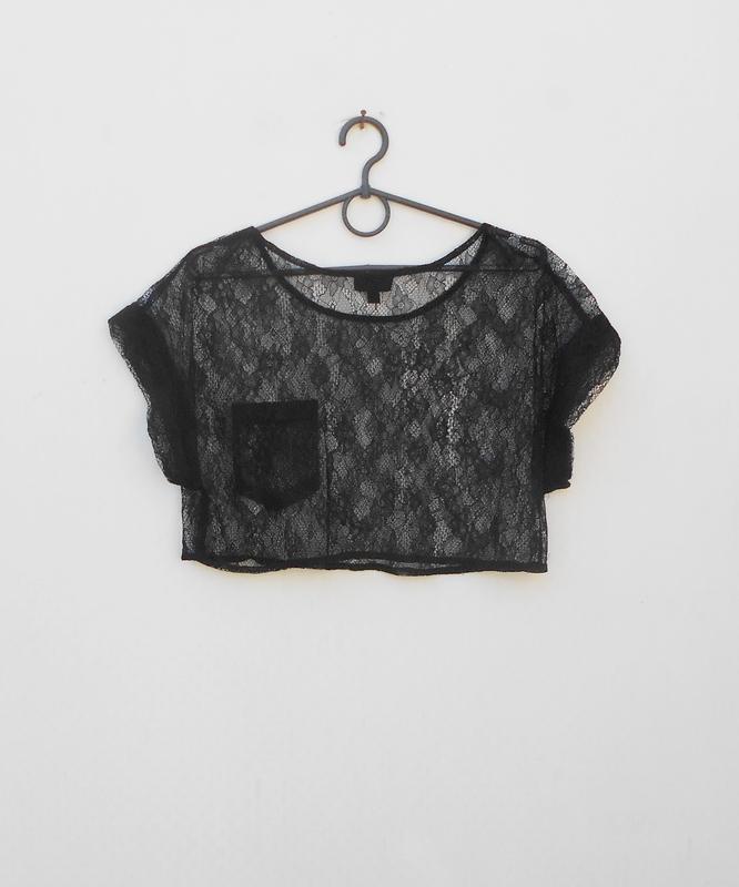 Черная  кружевная блузка  топ - Фото 3