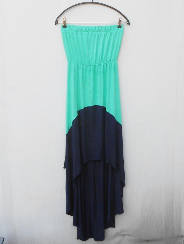 Летнее трикотажное длинное платье бюстье tezenis