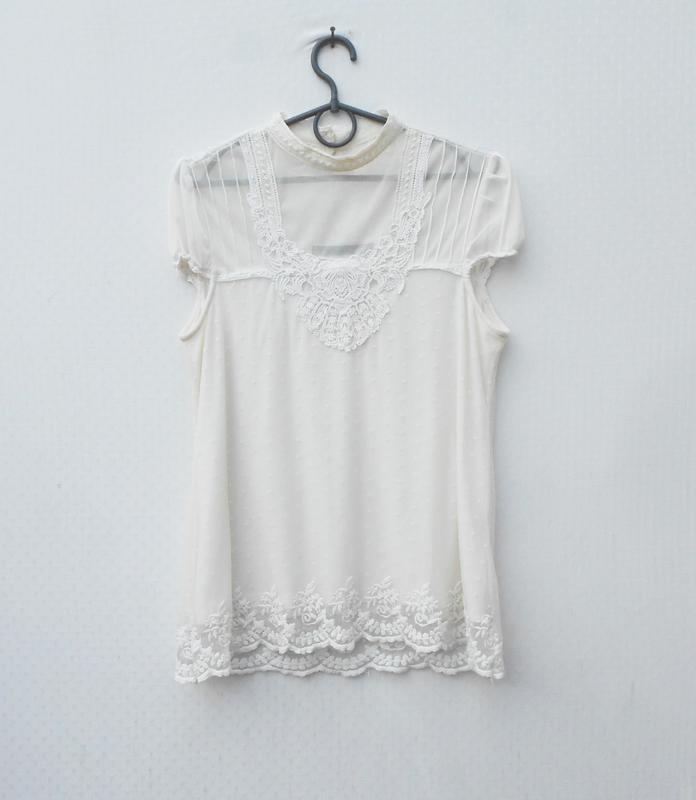 Летняя блузка с кружевом zara