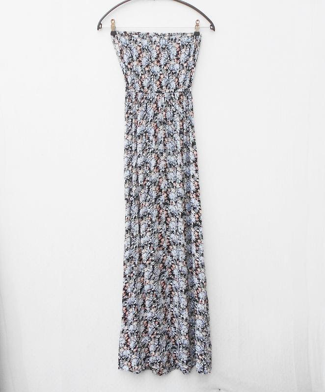 Летнее легкое платье бюстье из вискозы в пол с цветочным орнам...