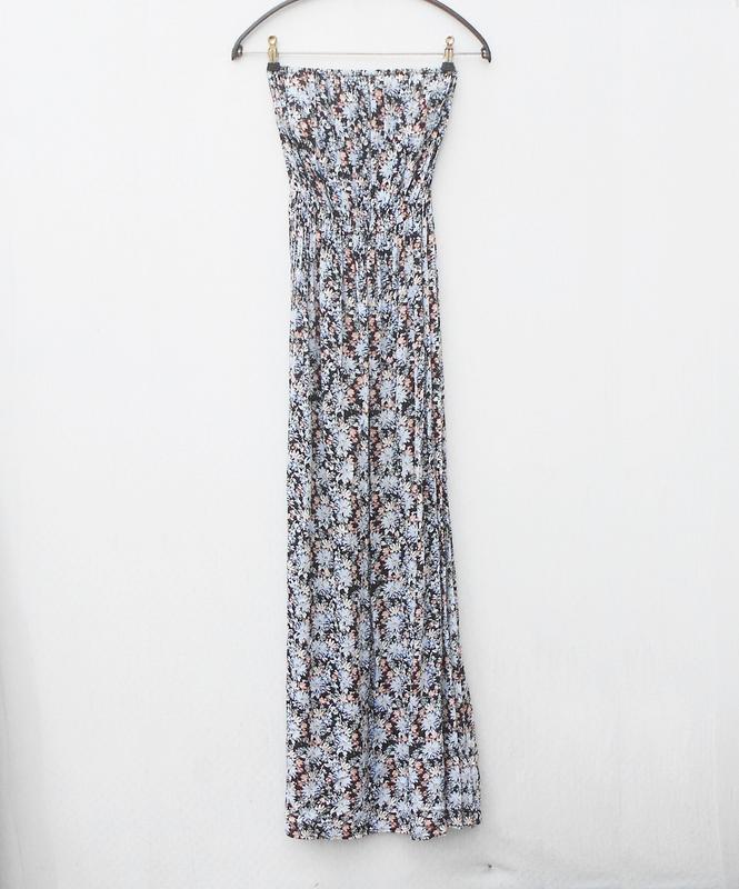 Летнее легкое платье бюстье из вискозы в пол с цветочным орнам... - Фото 2