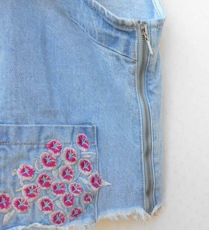 Вышитый джинсовый топ - Фото 2