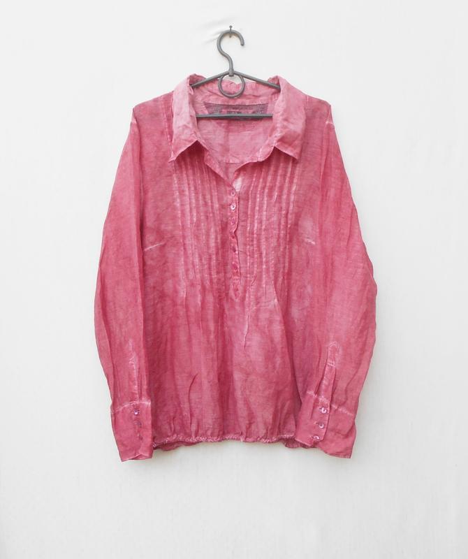 Летняя легкая винтажная блузка с длинным рукавом из шелка и хл...