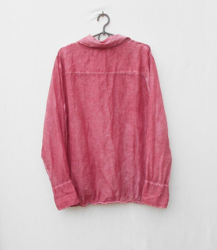 Летняя легкая винтажная блузка с длинным рукавом из шелка и хл... - Фото 3