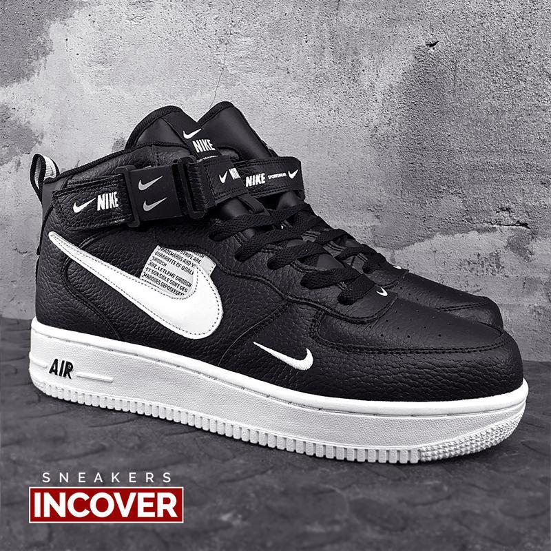 Мужские кроссовки Nike Air Force 1 Mid Black - Фото 3