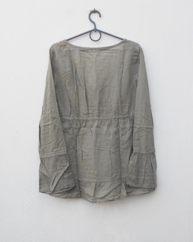 Легкая свободная блузка с вышивкой и пайетками с длиннным рукавом - Фото 3