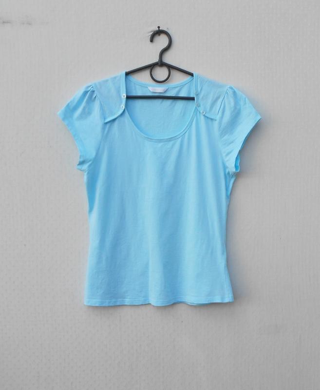 Голубая хлопковая футболка для сна и дома sleepwear