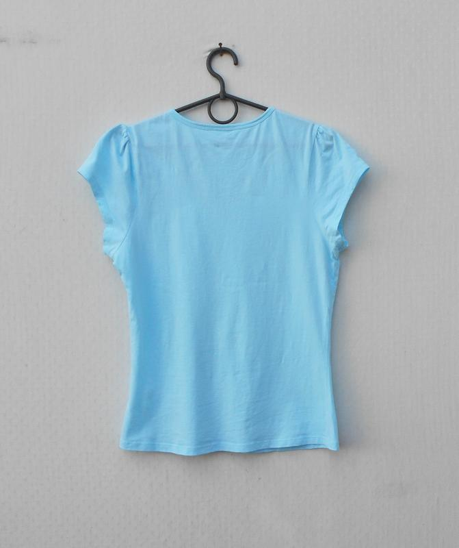 Голубая хлопковая футболка для сна и дома sleepwear - Фото 5