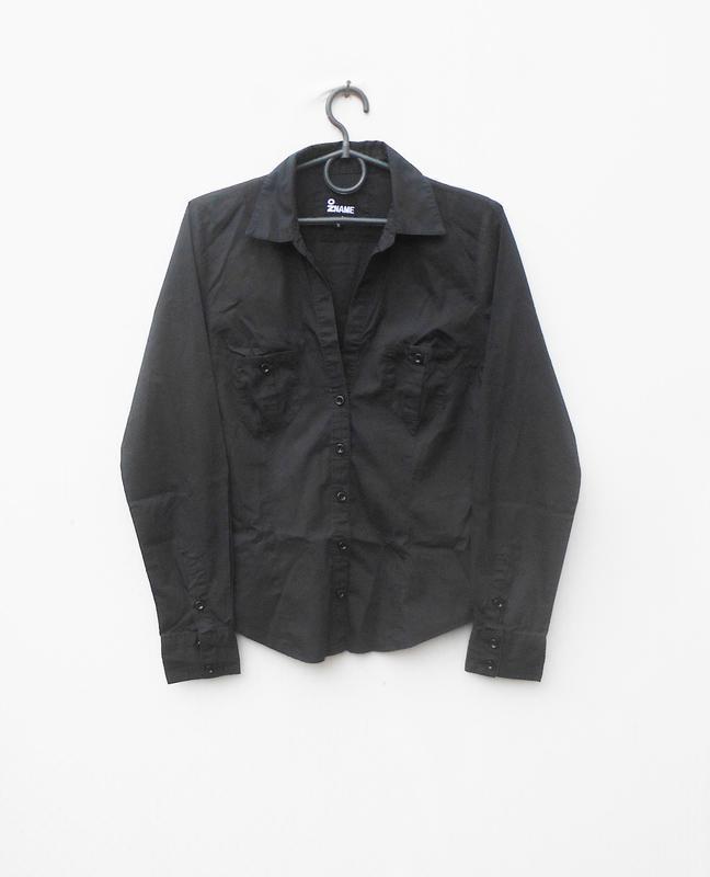 Черная классическая приталенная рубашка с воротником с длинным...