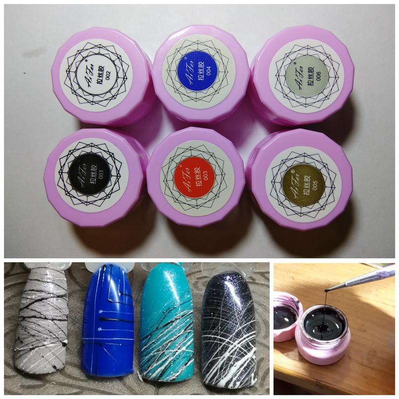Гель краска для ногтей паутинка синяя  8мл №004 - Фото 2