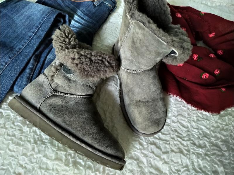 Серые зимние меховые кожаные угги ugg валенки, натуральный мех...