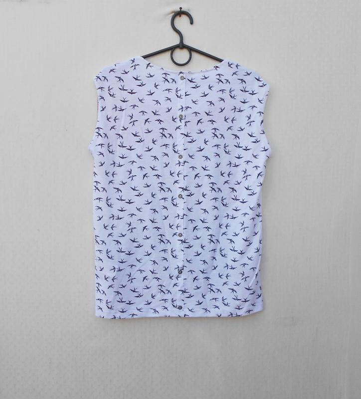 Летняя блузка из вискозы и хлопка  с принтом - Фото 2