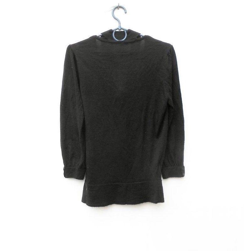 Черный осенний мягкий мерино  шерстяной свитер с запахом с рук... - Фото 2