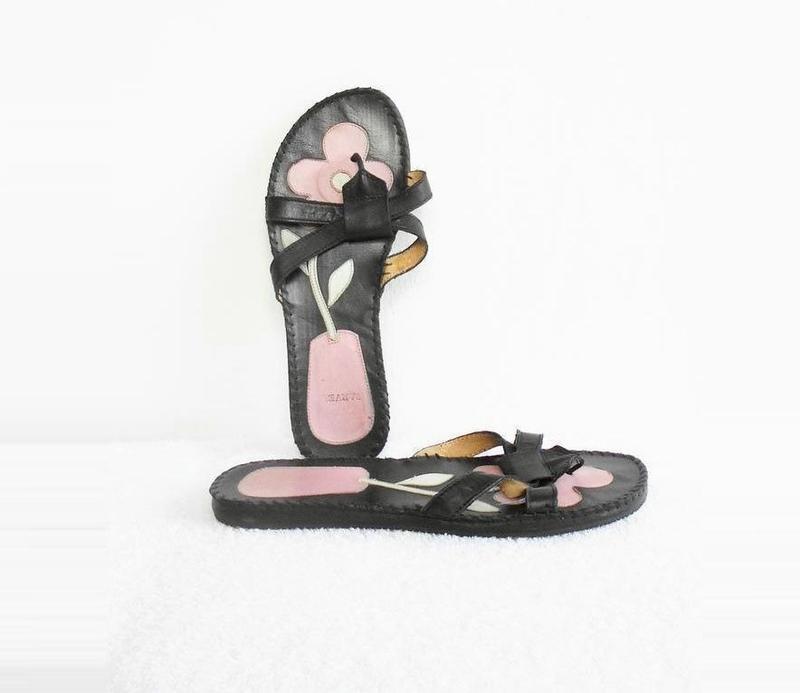 Черные кожаные женские шлепанцы сандалии вьетнамки 🌿 - Фото 2