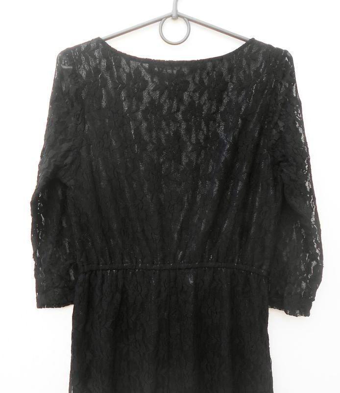 Черное кружевное вечернее нарядное коктейльное платье - Фото 2