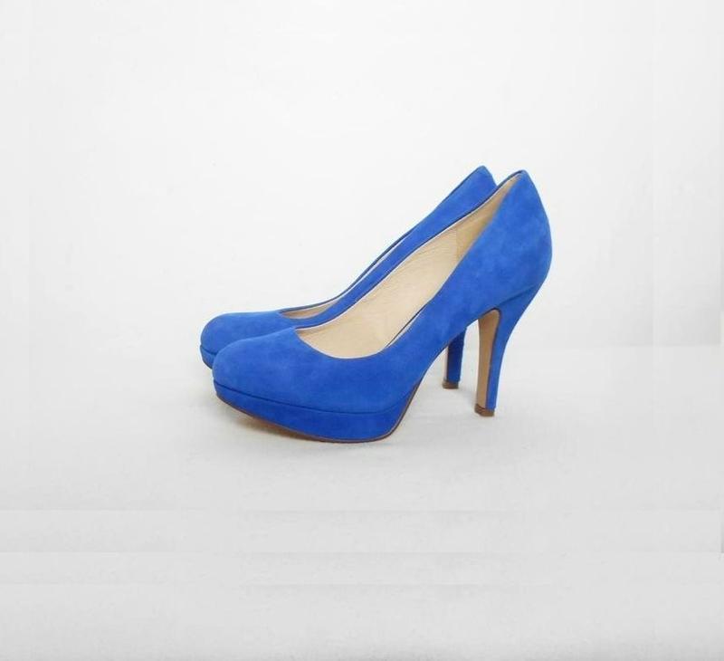 Синие замшевые кожаные классические туфли лодочки