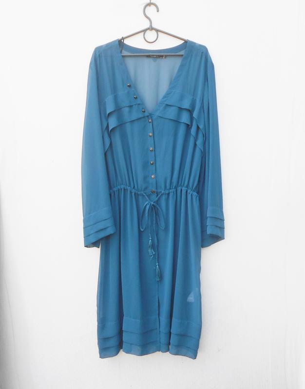Летнее шифоновое платье рубашка туника пляжная
