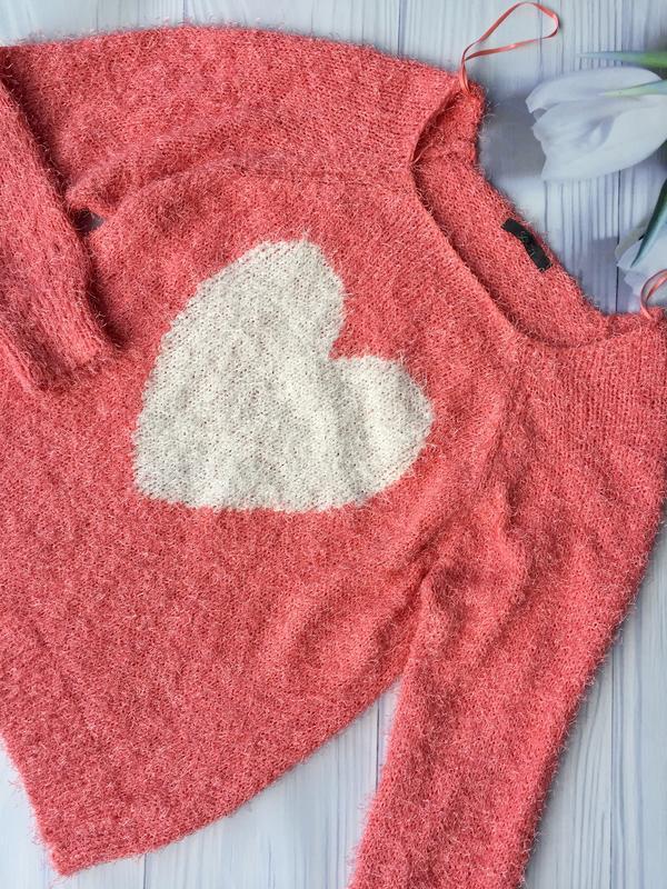 """Симпатичный пушистый свитер """"сердце '' - Фото 2"""