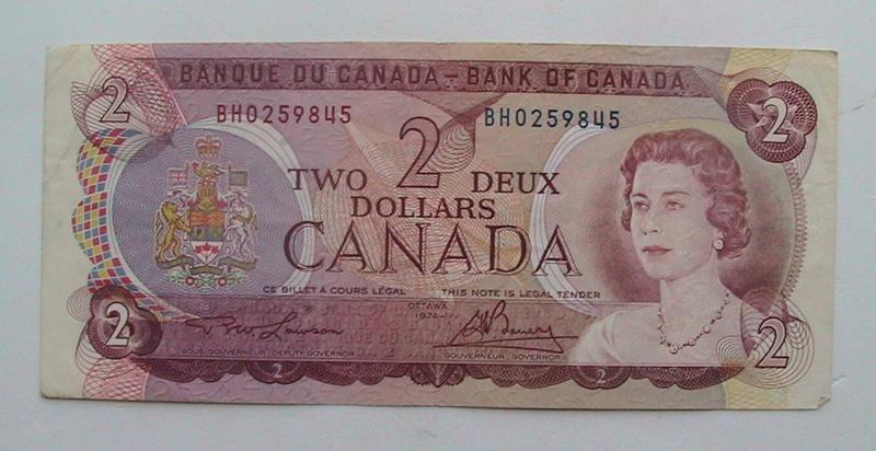 Канада 2 доллара 1974 тип А2 Бона