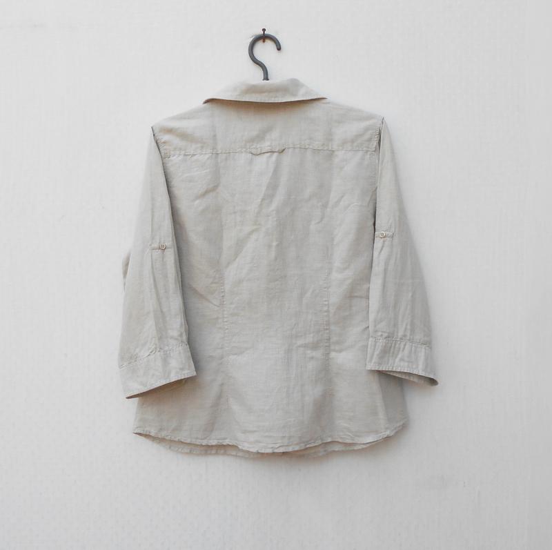 Летняя рубашка хлопок лен с рукавом 3/4 - Фото 3