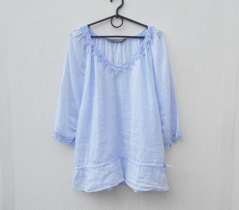 Летняя легкая свободная хлопковая блузка с кружевом