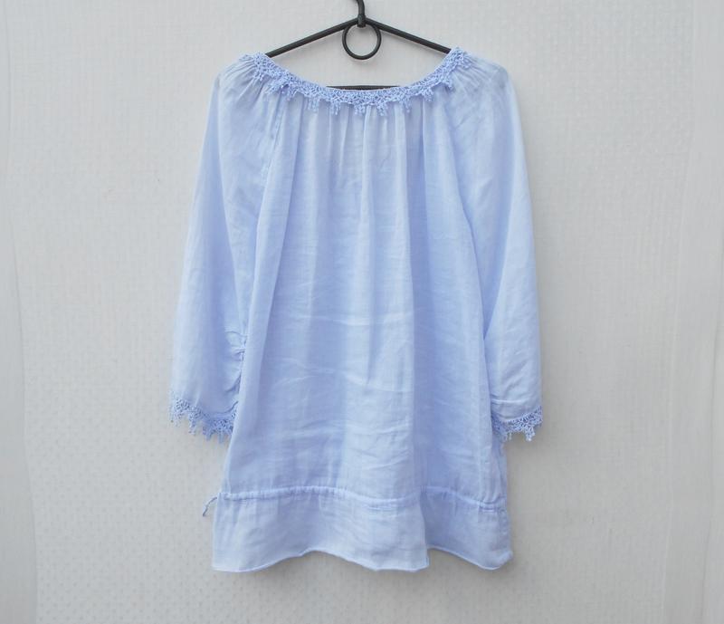 Летняя легкая свободная хлопковая блузка с кружевом - Фото 3