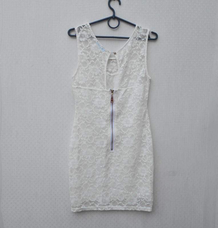 Белое нарядное кружевное сексуальное летнее платье на молнии s... - Фото 2