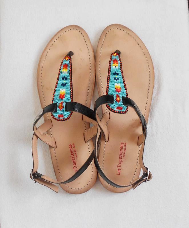 Кожаные брендовые сандалии босоножки с бисером les tropeziennes 🌿