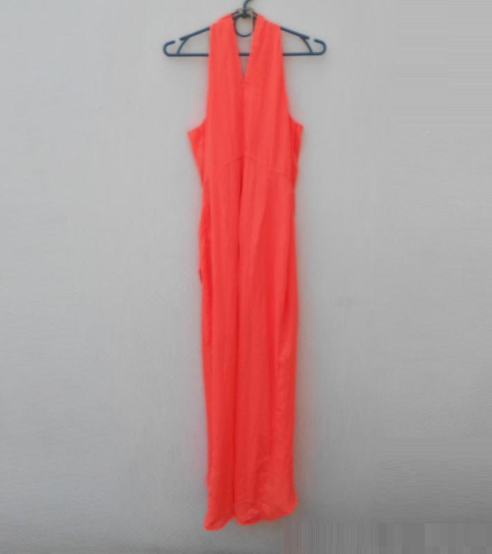 Яркое нарядное коралловое платье на молнии 🌿 - Фото 4