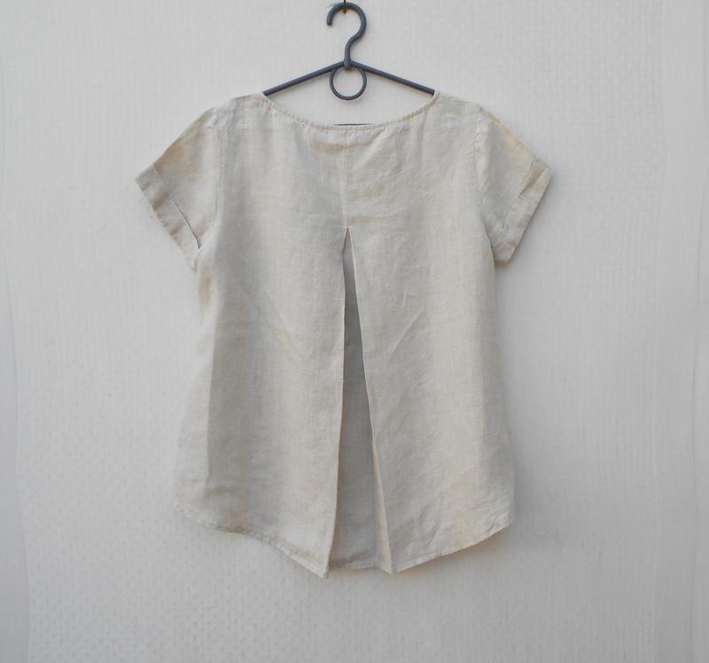 Бежевая летняя льняная свободная блузка - Фото 2