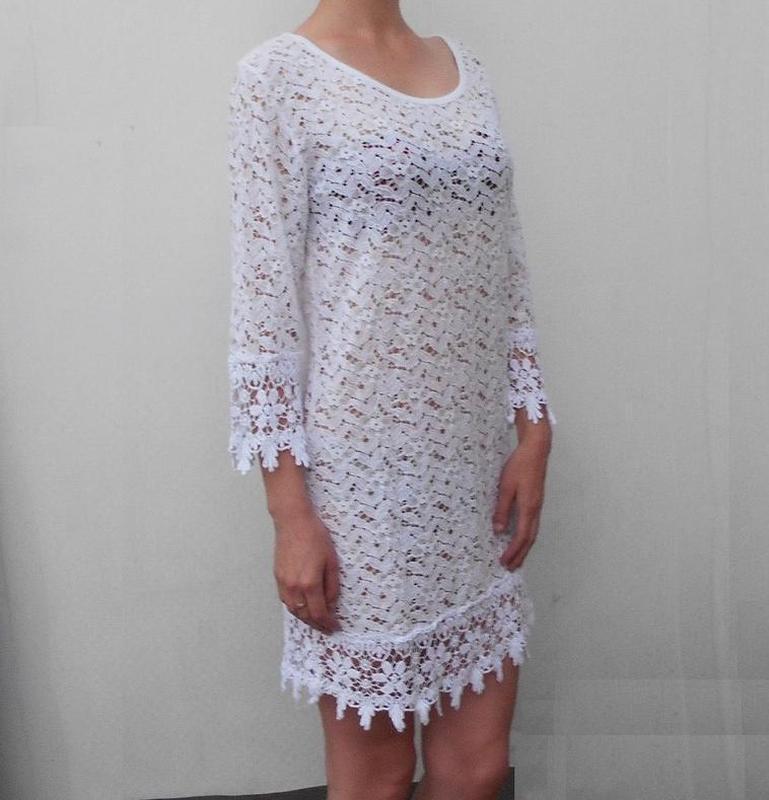 Белоя кружевная туника пляжная пляжное летнее платье