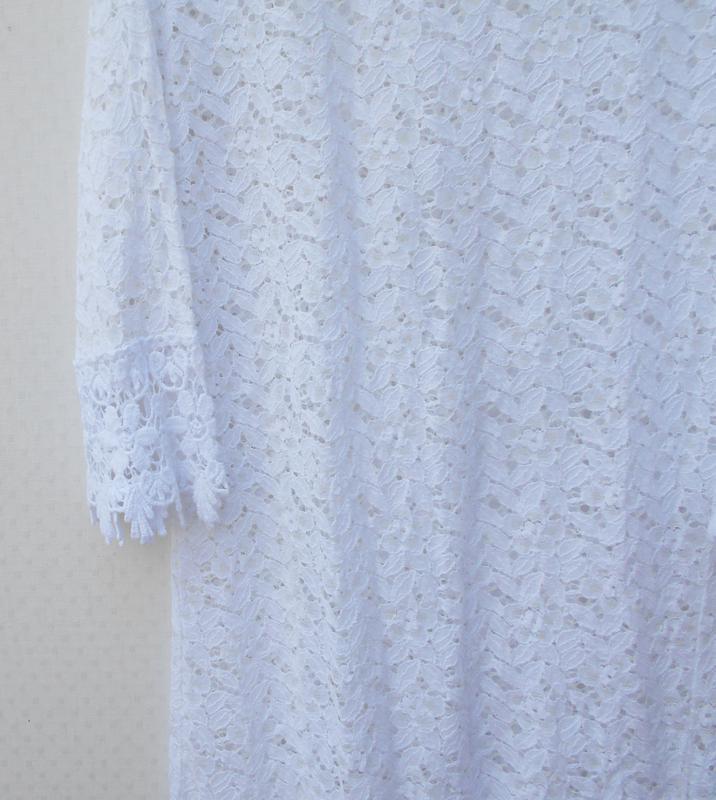 Белоя кружевная туника пляжная пляжное летнее платье - Фото 2