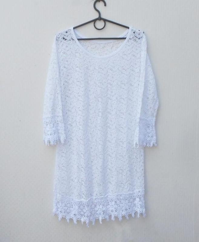 Белоя кружевная туника пляжная пляжное летнее платье - Фото 3