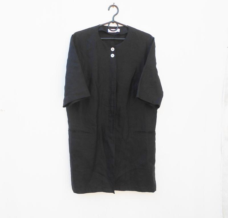 Черное льняное платье -жакет на пуговицах с коротким рукавом 🌿
